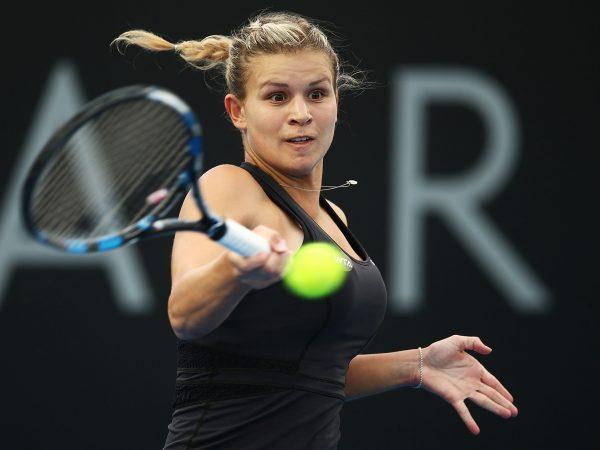 BIG WIN: Croatian Jana Fett lines up a forehand as she qualifies for her first WTA quarterfinal; Getty Images