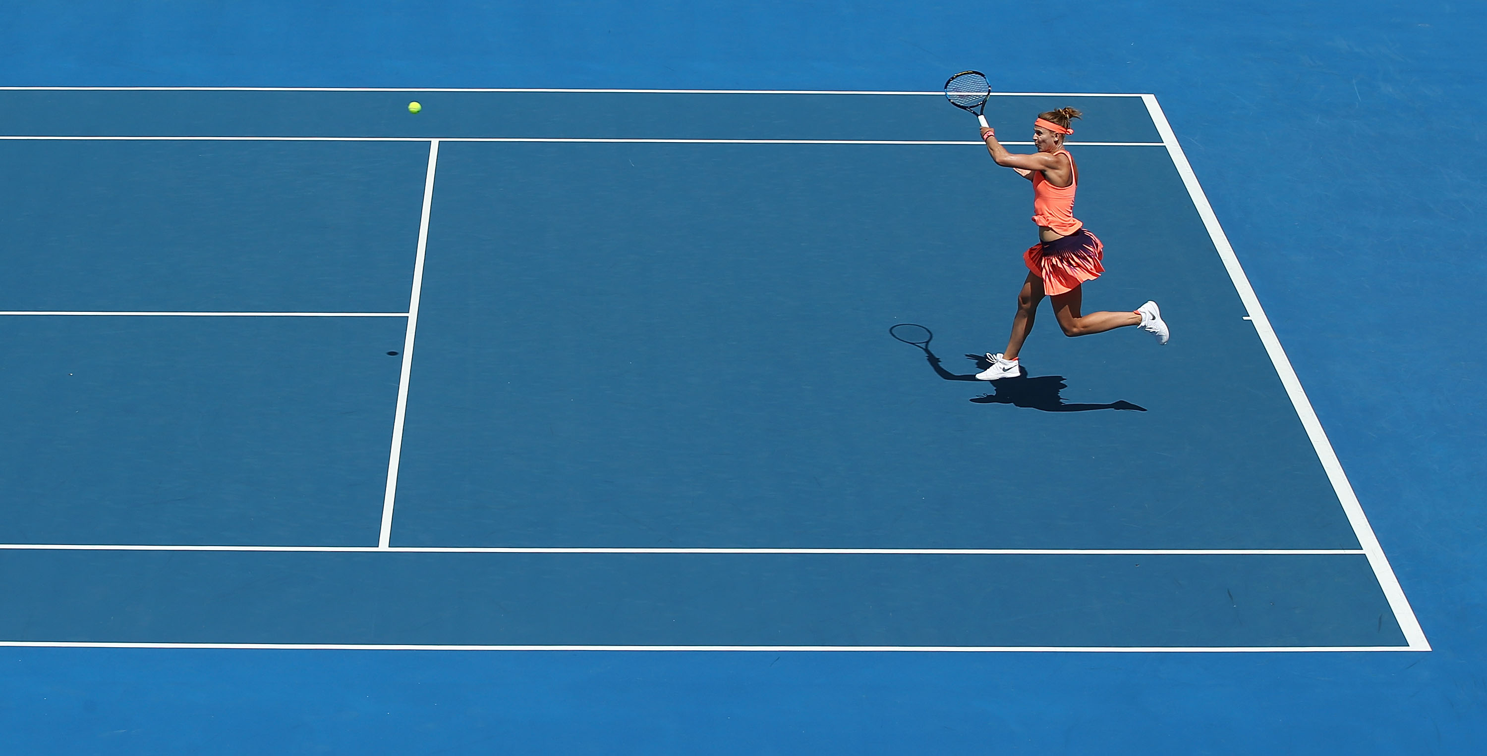 ON THE ATTACK: Lucie Safarova slams a forehand back in play during her second round match on Centre Court; Getty Images