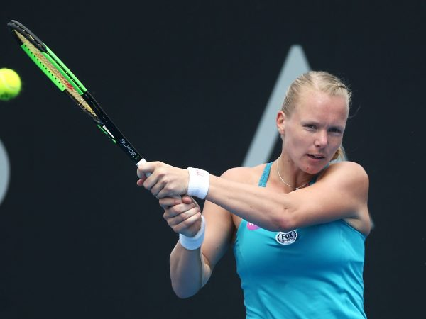 EYE ON THE PRIZE: Kiki Bertens plays a backhand during her second round clash with Kazakh Galina Voskoboeva; Getty Images