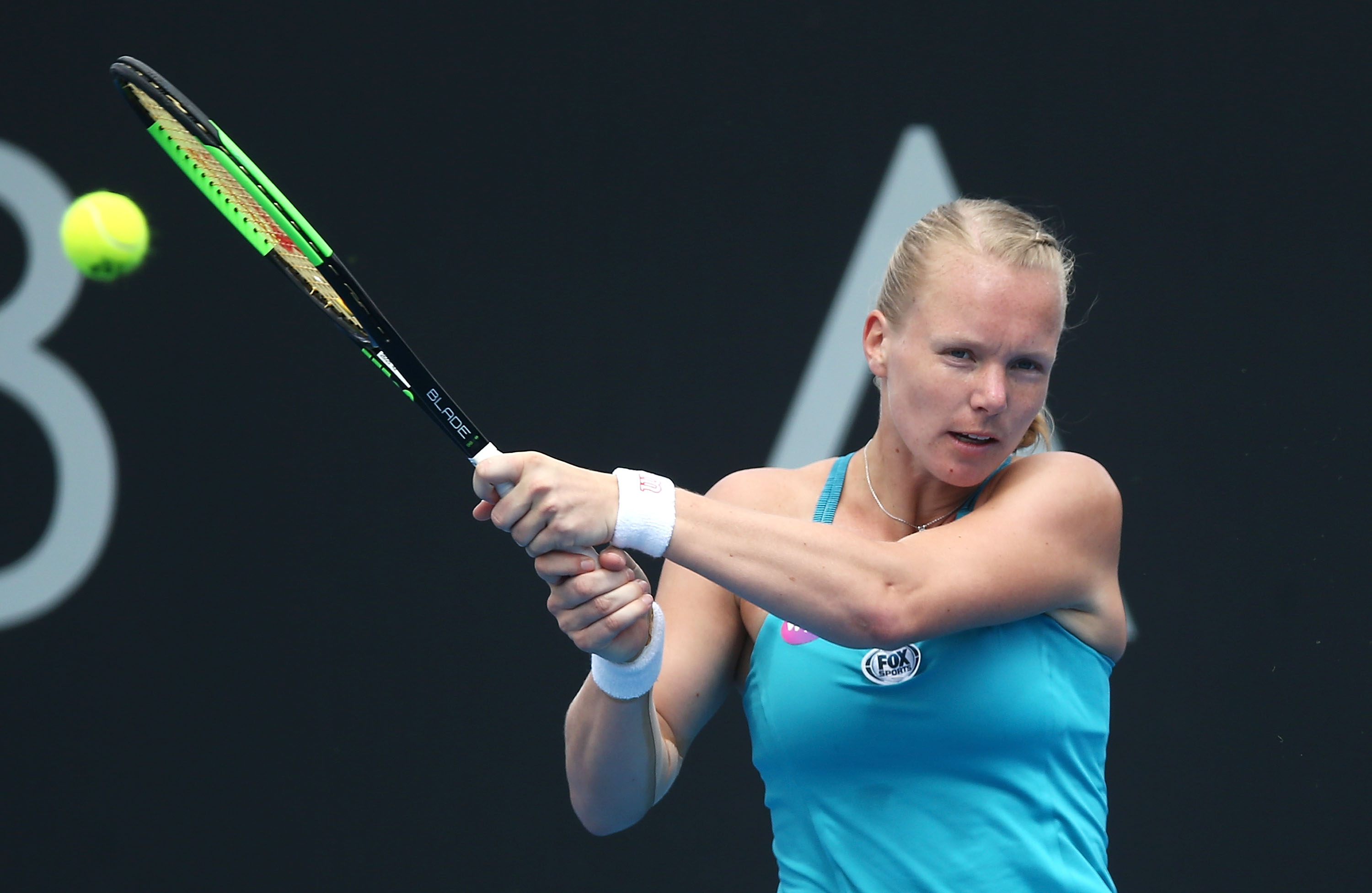 EYE ON THE PRIZE: Kiki Bertens plays a backhand during her clash with Kazakh Galina Voskoboeva; Getty Images