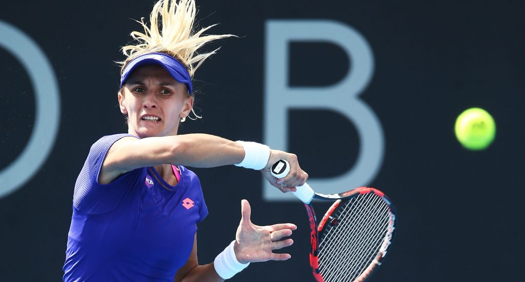 MOVING ON: Ukrainian Lesia Tsurenko fires a forehand during her second round win over 11th seed Johanna Larsson; Getty Images