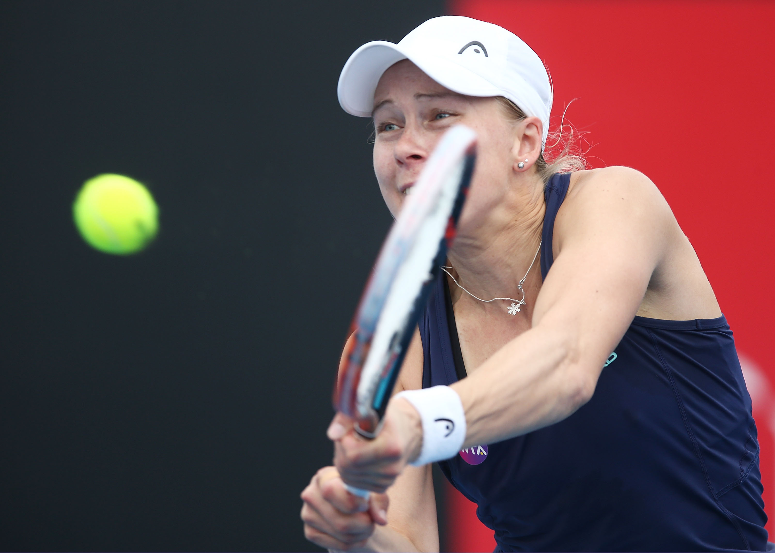 STRETCHED: No.11 seed Johanna Larsson of Sweden plays a backhand in her second round match; Getty Images