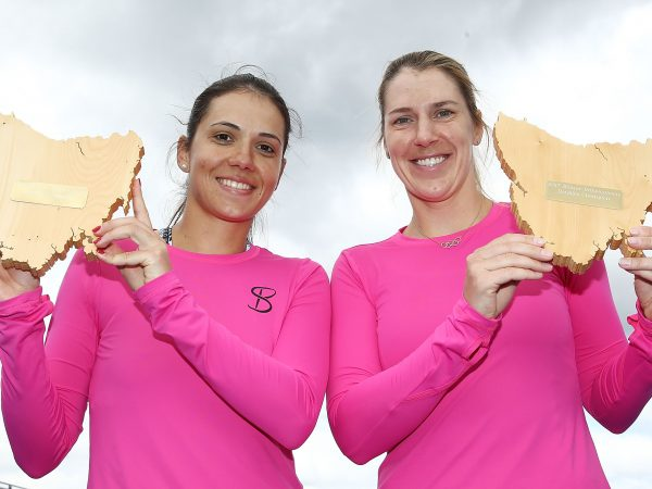 CHAMPIONS: Raluca Olaru of Romania and Olga Savchuk can't wipe the smile off their faces after winning the Hobart International 2017 doubles title; Getty Images