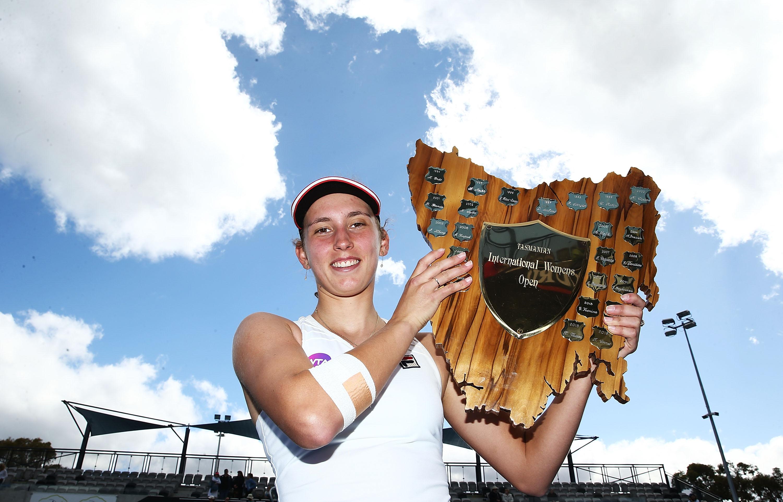 NEW CHAMPION: Elise Mertens of Belgium celebrates winning the Hobart International 2017 singles title; Getty Images