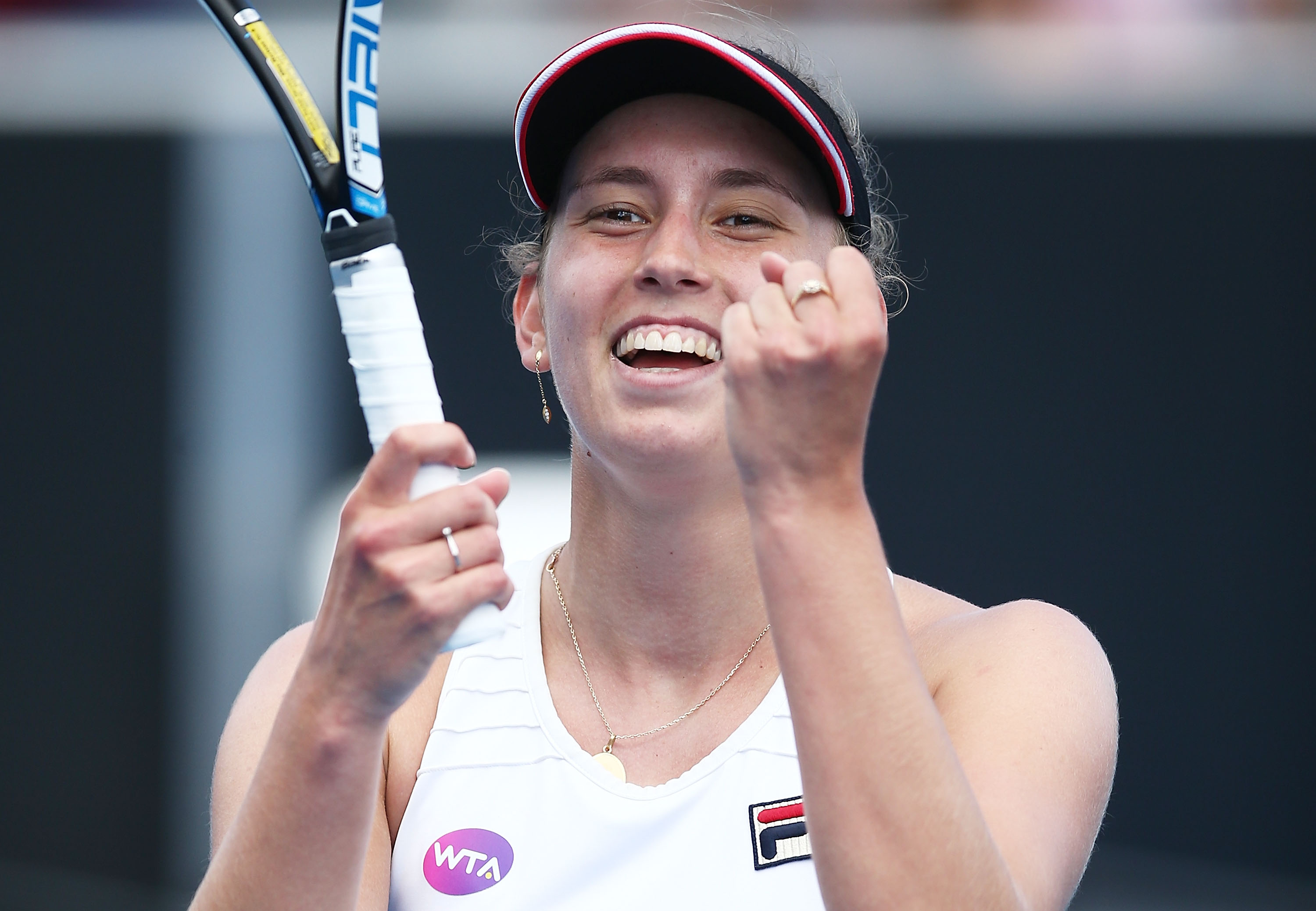 ELATION: Elise Mertens celebrates becoming the Hobart International singles champion for 2017; Getty Images