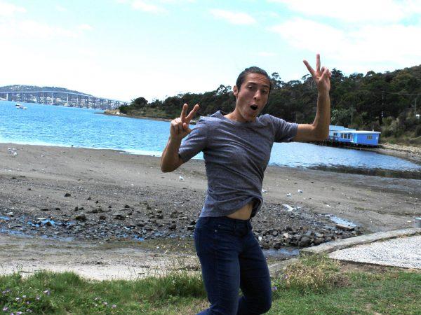 JUMPING FOR JOY: Grand Slam champion Francesca Schiavone explores Hobart's Cornelian Bay.