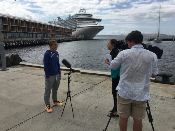 HAPPY TO BE BACK: Italian Sara Errani speaks to media at Hobart's Constitution Dock this morning.