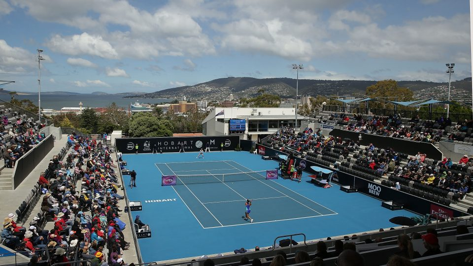 WHAT A VIEW: The Domain Tennis Centre in Hobart; Getty Images