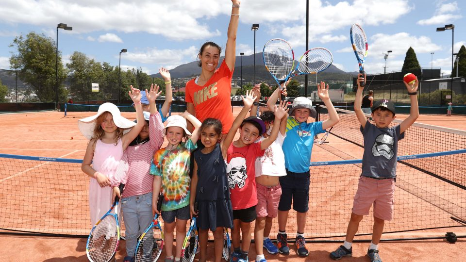 POPULAR: Caroline Garcia met with young fans as part of the tournament's Free Family Weekend fun; Getty Images