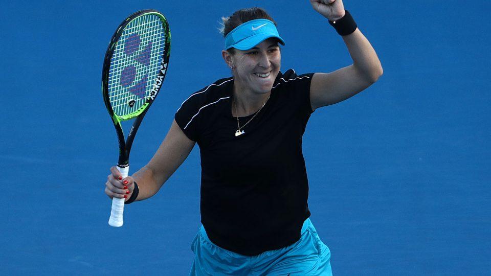 HAPPY: Belinda Bencic celebrates winning her quarterfinal match; Getty Images
