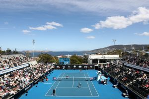 SUNSHINE: The Domain Tennis Centre was picture perfect for finals day; Getty Images